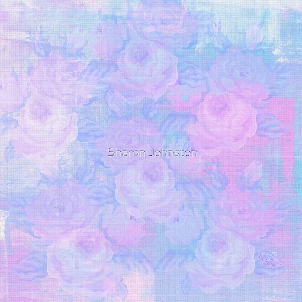 Pink and Blue Roses by Sharon Johnston