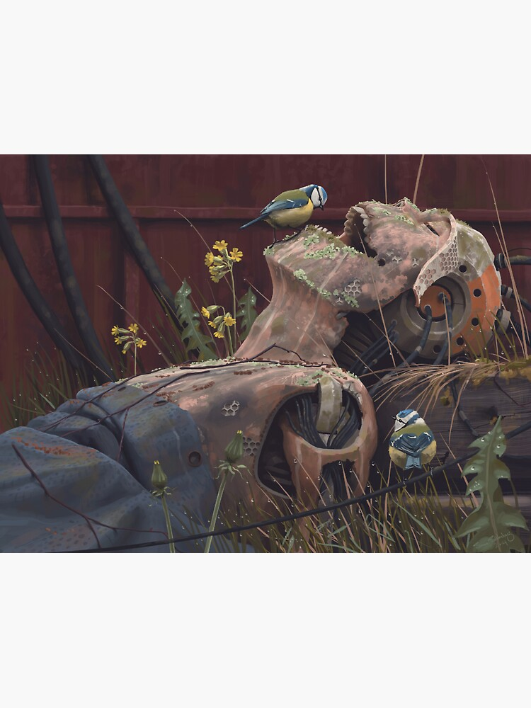 On the activities of primates and passerines by simonstalenhag