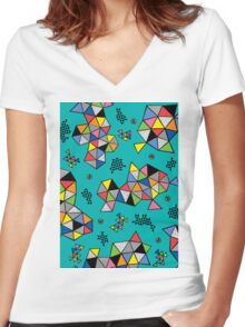 Edgewise turq Women's Fitted V-Neck T-Shirt