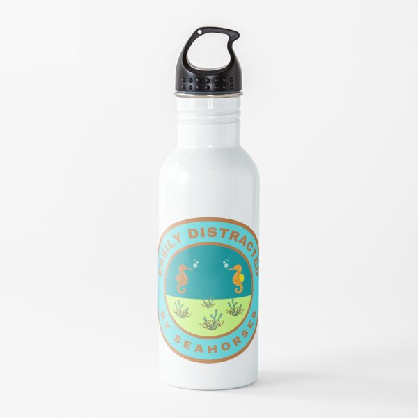 Easily distracted by Seahorses Water Bottle
