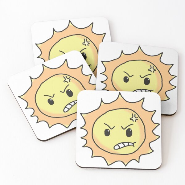angry sun Coasters (Set of 4)