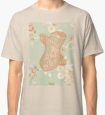 Victorian Green Peach Floral Corset Classic T-Shirt