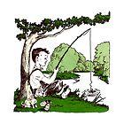Retro Fishing Memories  - Kid's Vintage Illustration  by VisionQuestArts