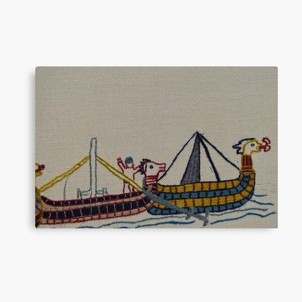 Viking ships arriving Canvas Print