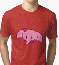 Pink Heart Elephant Face Tri-blend T-Shirt