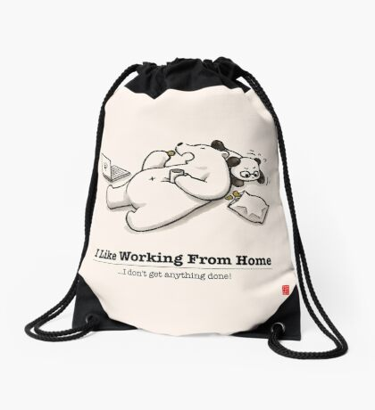 I Like Working From Home Drawstring Bag
