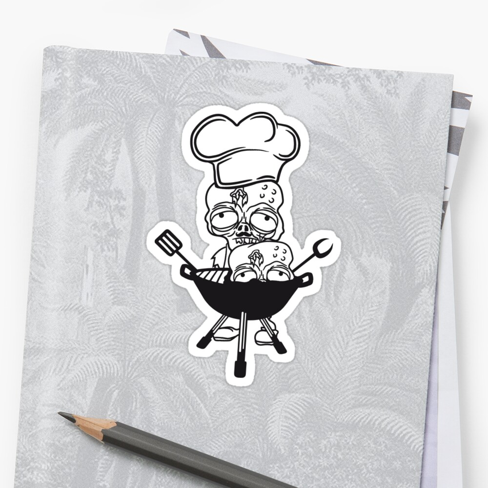 eat grill grilling zombie cook chef chef grilling delicious hunger restaurant chef hat apron undead horror monster halloween by Motiv-Lady