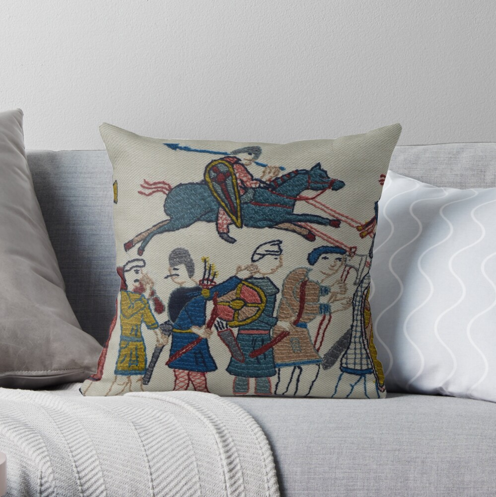 Riders and walkers Throw Pillow