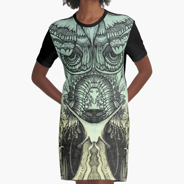 Green Moths Graphic T-Shirt Dress