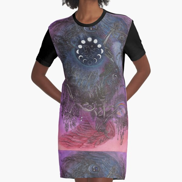 Night Bird Graphic T-Shirt Dress