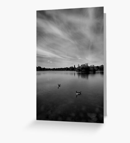 Thatcham Lakes in Black and White. Greeting Card