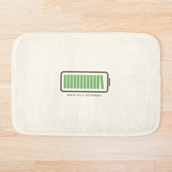 Brain Fully Recharged with Books (Latte Edition) Bath Mat