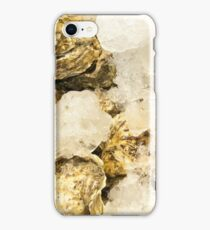 Fresh oysters on ice, seafood close-up iPhone Case/Skin