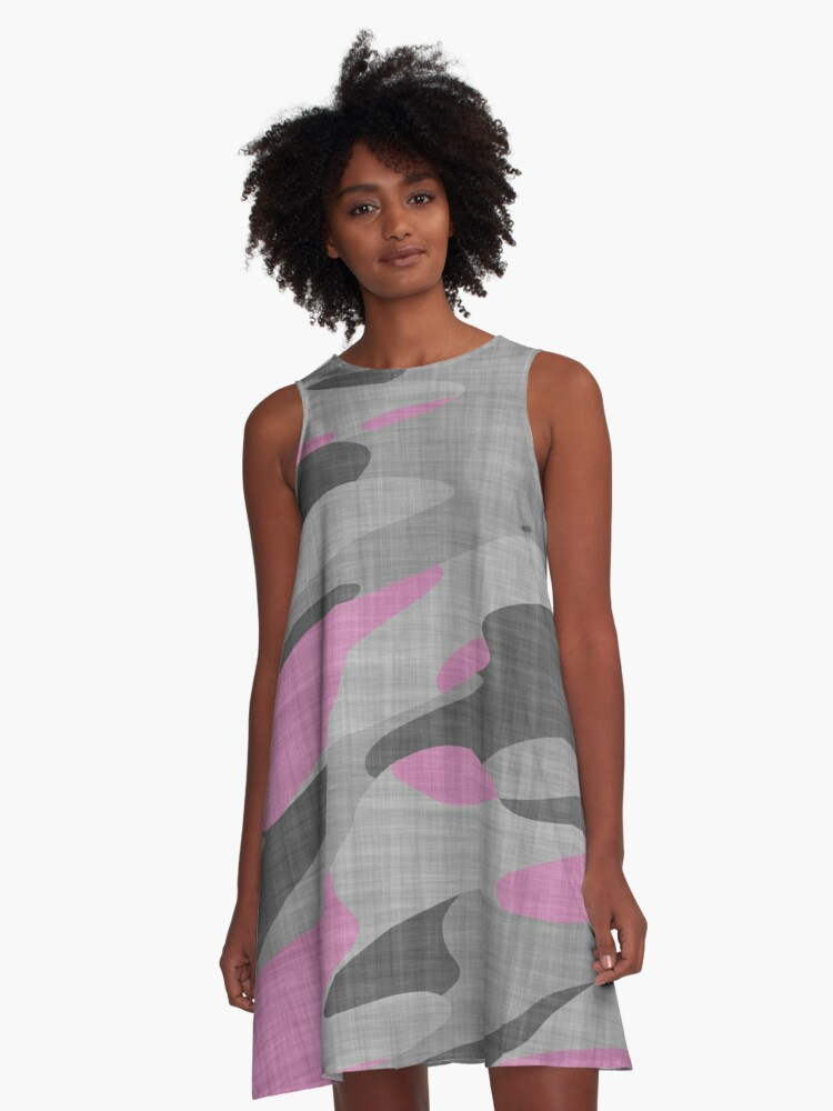 pink black gray and white camo A-Line Dress Front