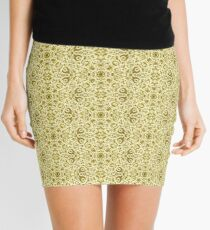 Yellow and Dirty Brass Filigree Pioneer Chic Tile Pattern Mini Skirt