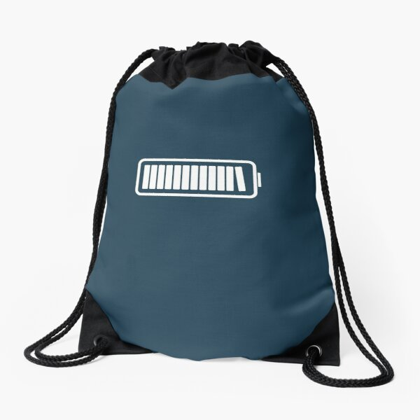 Brain Fully Recharged with Books (Minimalist Navy Edition) Drawstring Bag