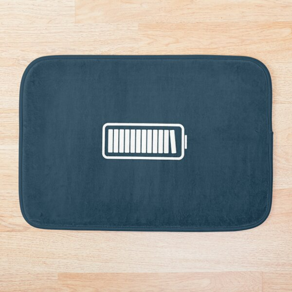 Brain Fully Recharged with Books (Minimalist Navy Edition) Bath Mat