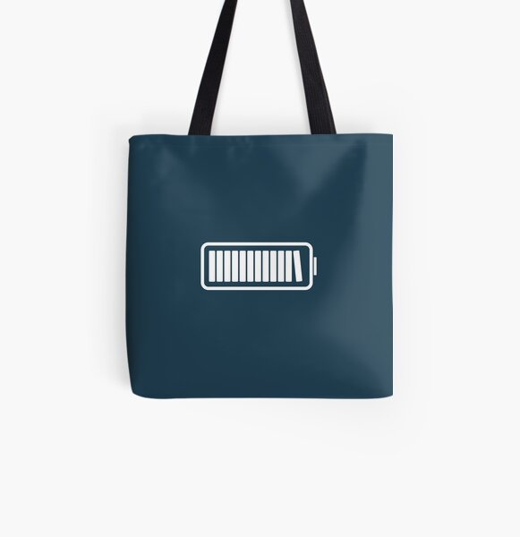Brain Fully Recharged with Books (Minimalist Navy Edition) All Over Print Tote Bag