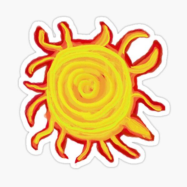 Red Hot Yellow Orange Sun Sticker