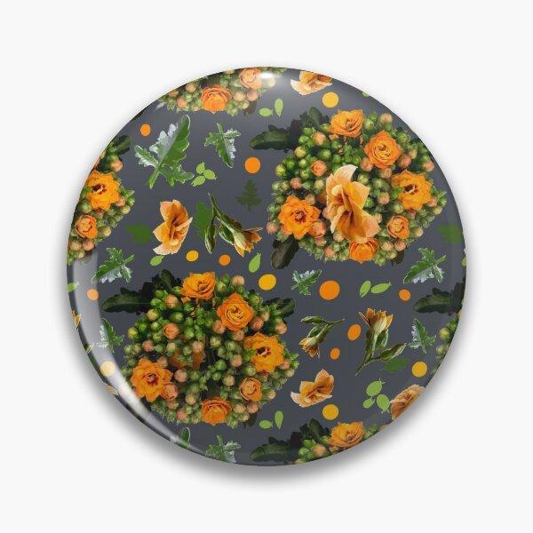 Kalanchoe Muster orange auf inkwell Grau  Button