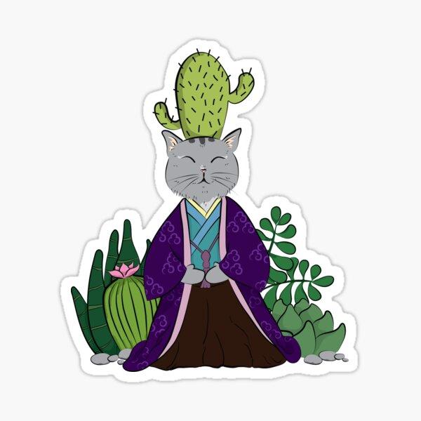 Zen cats - Succulent - Purple Sticker