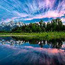 Teton Mountains in Wyoming with Clouds and Reflection by KellyHeaton