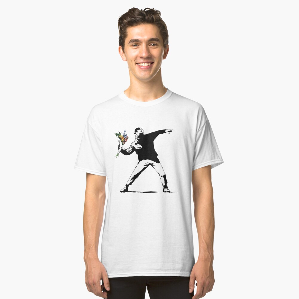 Banksy Flowers Classic T-Shirt Front