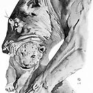 Lioness with her cub by BruksSketches