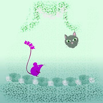 Cat and mouse on turquoise by bepi