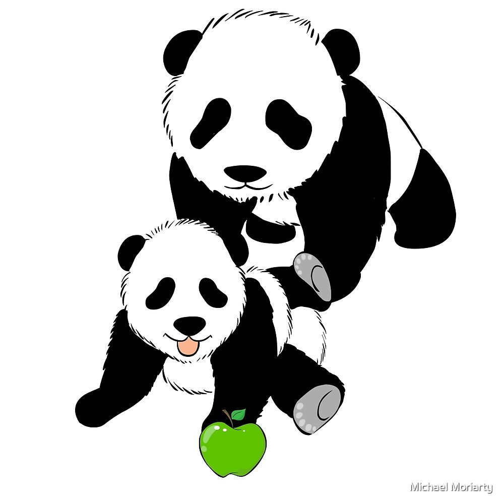 Mother and Baby Panda Bears by Michael Moriarty