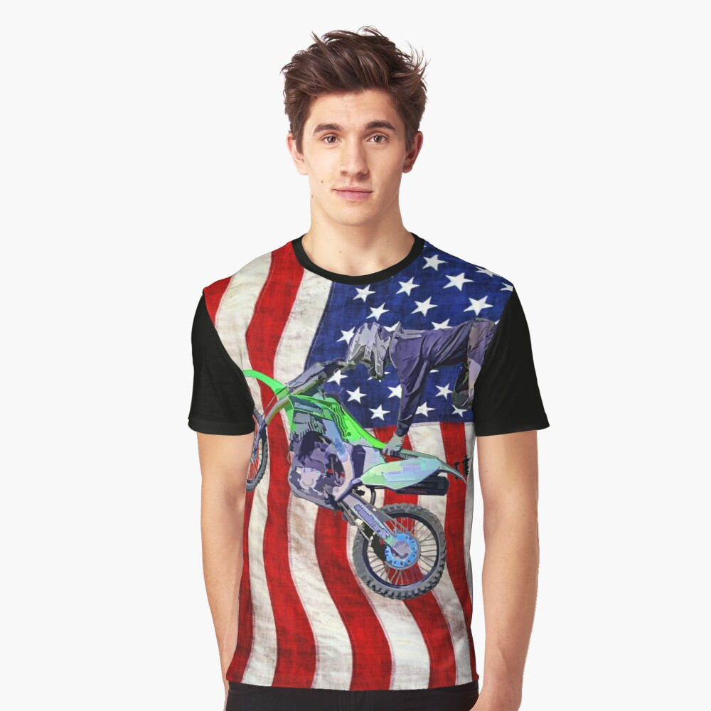 High Flying Freestyle Motocross Rider Graphic T-Shirt Front
