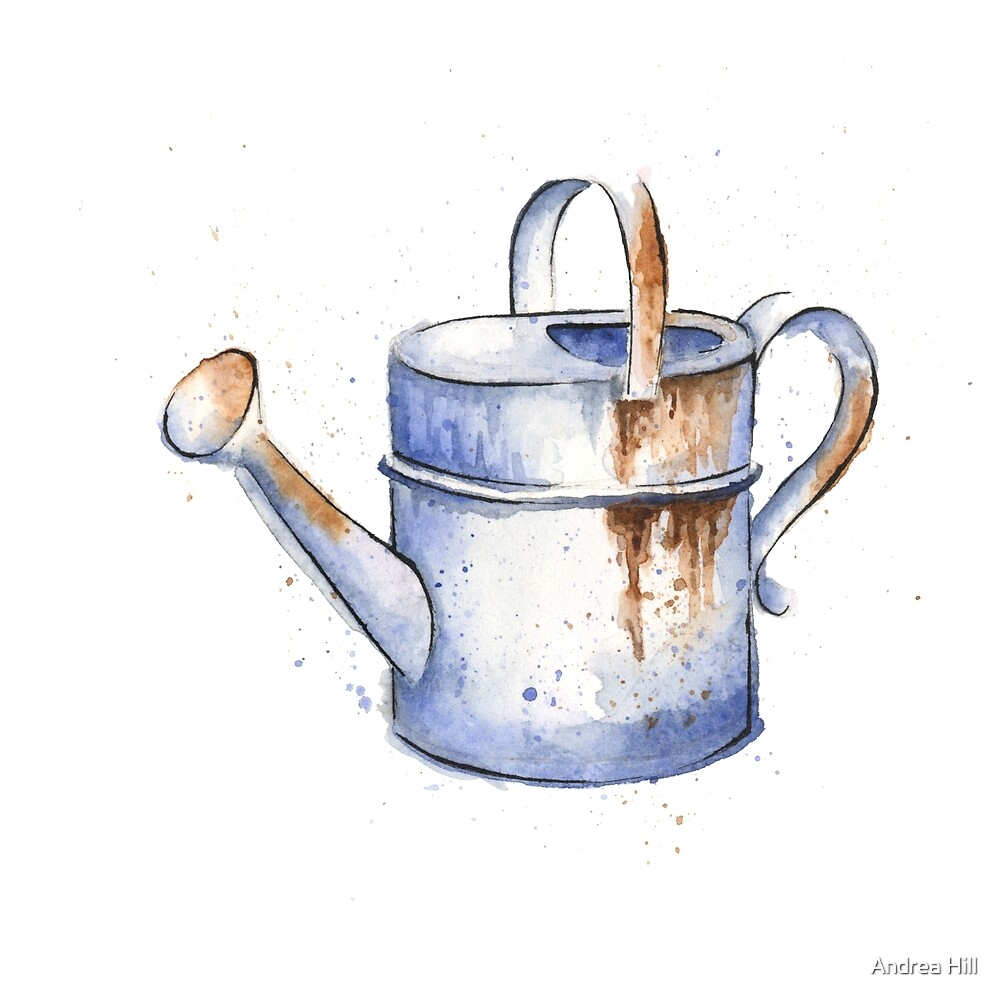 Watercolor Painting of a Rusty Watering Can Spring by Andrea Hill