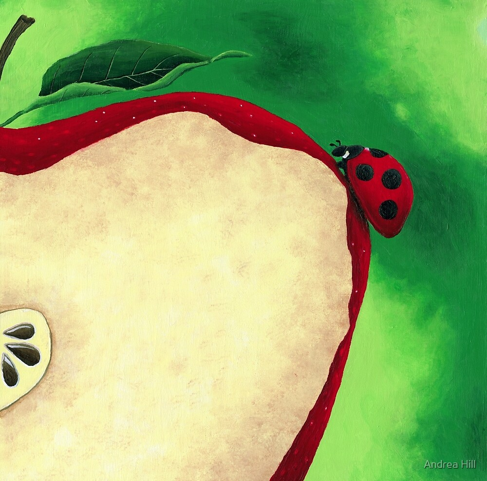 Acrylic Painting of Lady Bug Climbing Up Slice Apple  by Andrea Hill