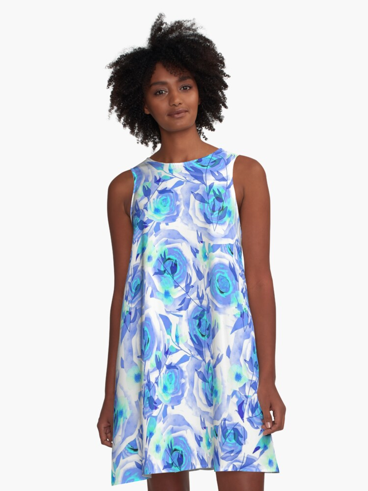 Seamless design abstraction Rose.  A-Line Dress Front