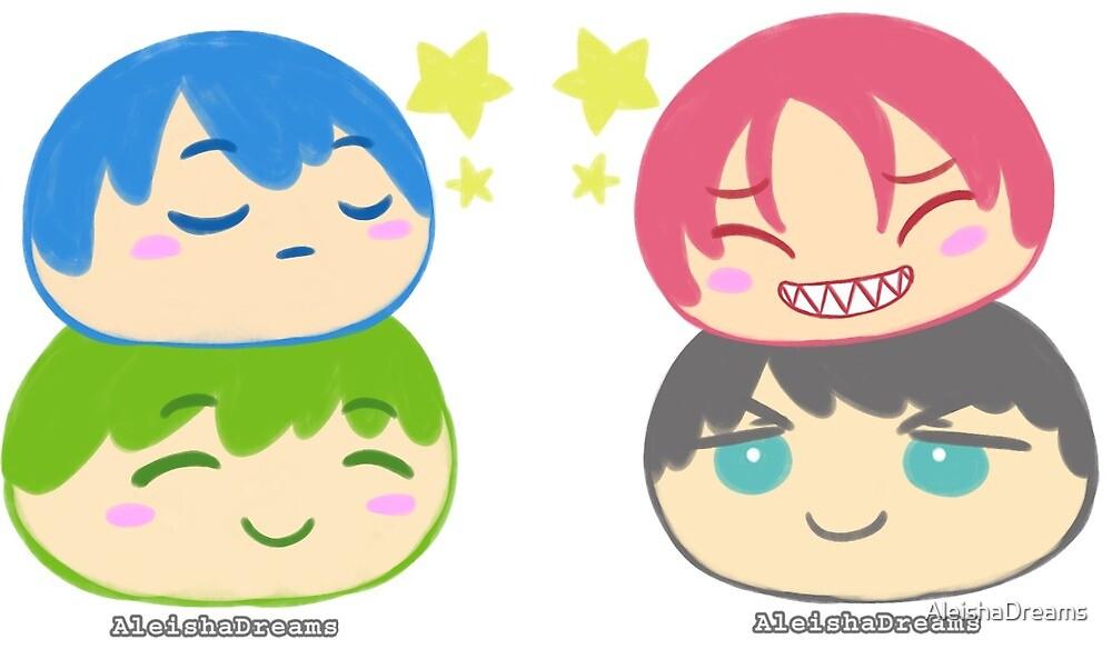 MakoHaru & SouRin Manjuu Stickers by AleishaDreams