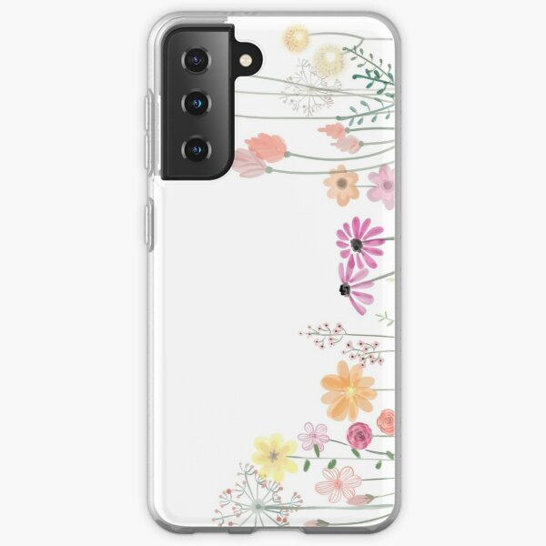 Watercolor minimalistic summer flowers art paint texture design.  iPhone and Samsung Galaxy case cover Samsung Galaxy Soft Case