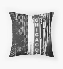 Chicago Theatre Sign in Black and White Throw Pillow