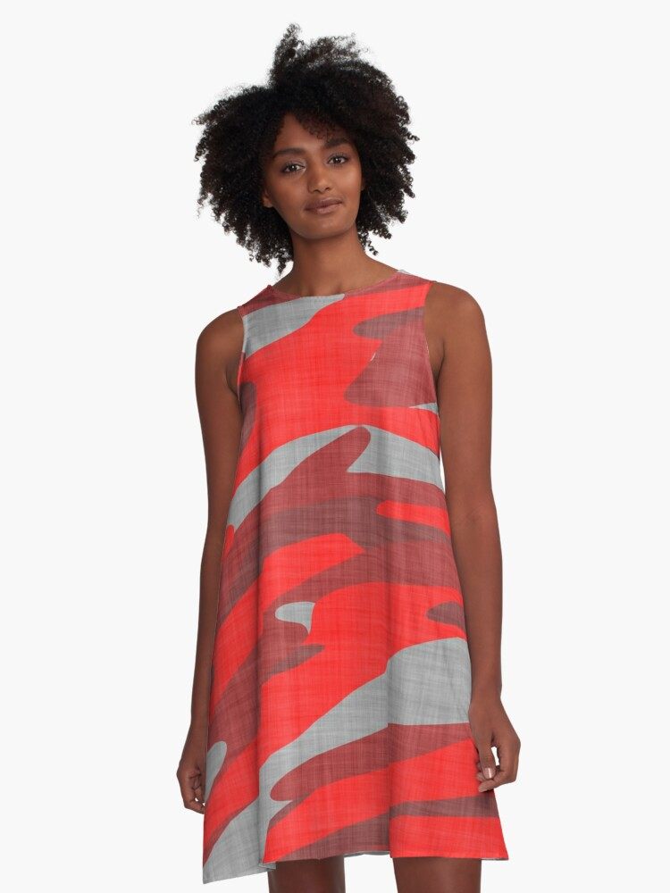 red and gray camo abstract A-Line Dress Front