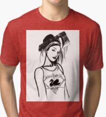 Quan-Yin in a Black Swan Singlet Tri-blend T-Shirt