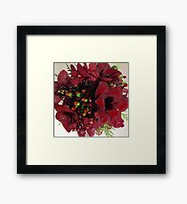 Burgundy Orchid and Amaryllis Bouquet Framed Print