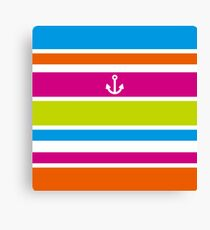 Anchor Brilliant Colorful Stripes Vivid Nautical Summer Fun Canvas Print