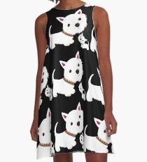 Westie & Welpe A-Linien Kleid