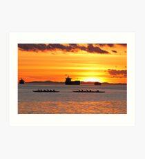English Bay Sunset - Dragon Boats at Dusk Art Print