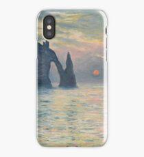 Claude Monet - The Cliff, Étretat,  Sunset  Impressionism iPhone Case/Skin