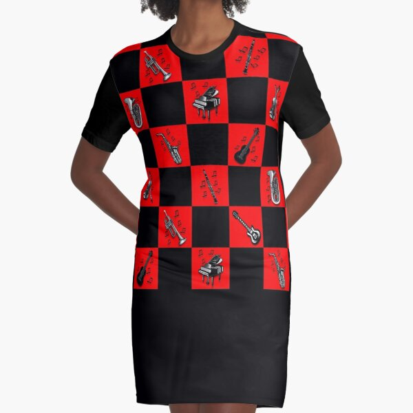 Legakulie Musikinstrumente schwarz rot kariert Graphic T-Shirt Dress