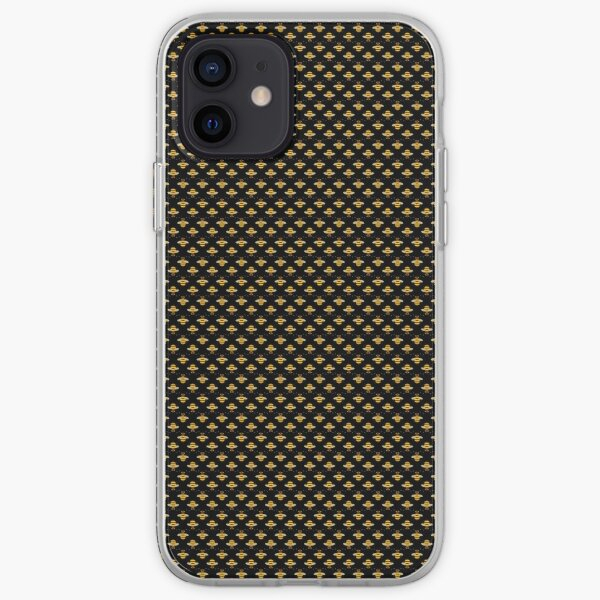Bees Micro Pattern - Black Background iPhone Soft Case