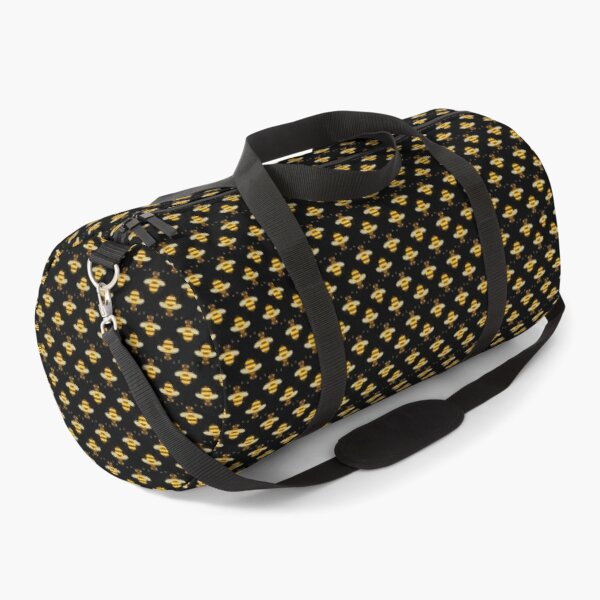 Bees Micro Pattern - Black Background Duffle Bag