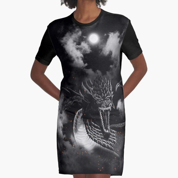 Moon Black-White Fire Dragon Clouds Graphic T-Shirt Dress