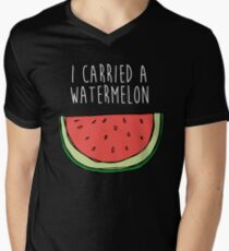 I carried a watermelon Men's V-Neck T-Shirt