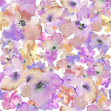Purple Watercolour Flower Pattern by whatemma